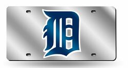 Detroit Tigers License Plate Laser Cut Silver Special Order