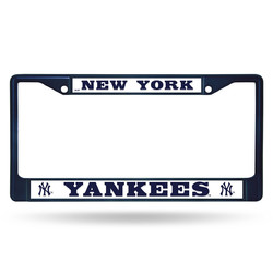 New York Yankees License Plate Frame Metal Navy