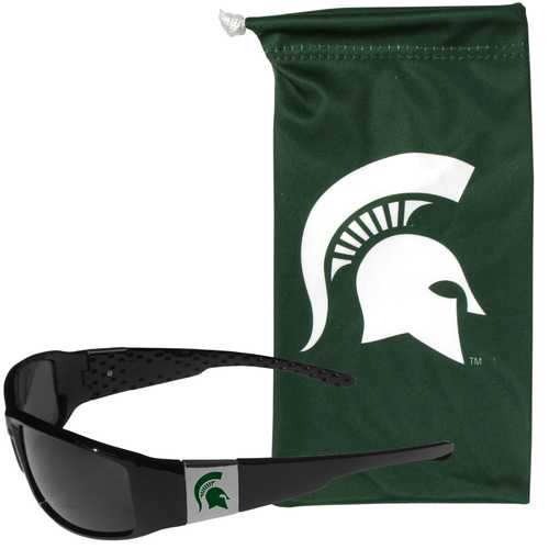 Michigan St. Spartans Chrome Wrap Sunglasses and Bag