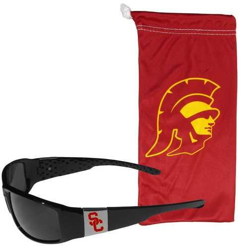 USC Trojans Chrome Wrap Sunglasses and Bag
