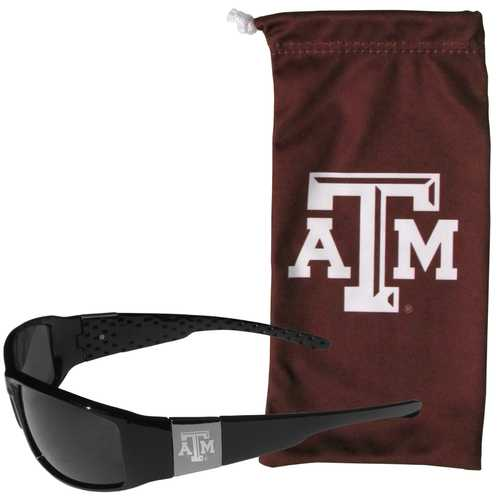 Texas A & M Aggies Etched Chrome Wrap Sunglasses and Bag
