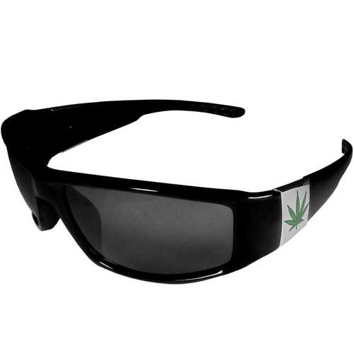 Pot Leaf Chrome Wrap Sunglasses