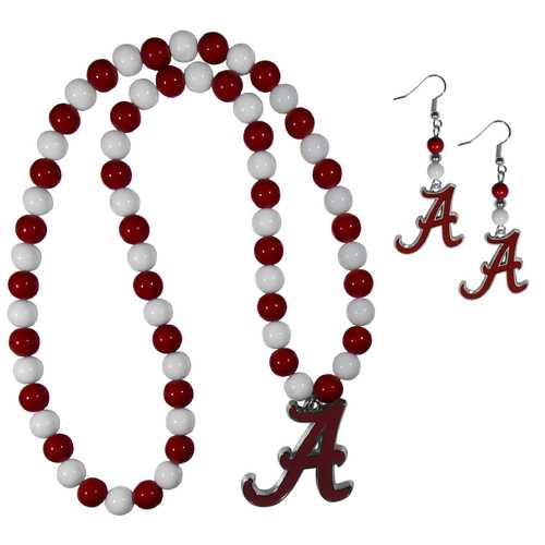 Alabama Crimson Tide Fan Bead Earrings and Necklace Set