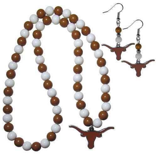 Texas Longhorns Fan Bead Earrings and Necklace Set