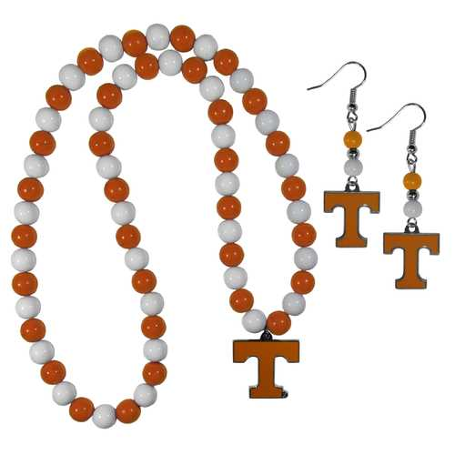 Tennessee Volunteers Fan Bead Earrings and Necklace Set