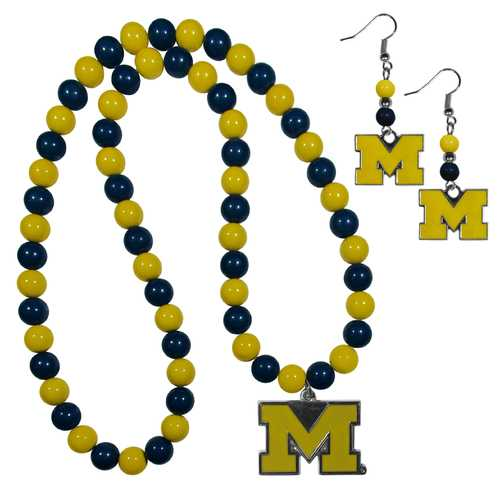 Michigan Wolverines Fan Bead Earrings and Necklace Set