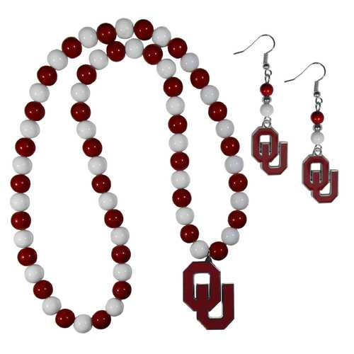 Oklahoma Sooners Fan Bead Earrings and Necklace Set