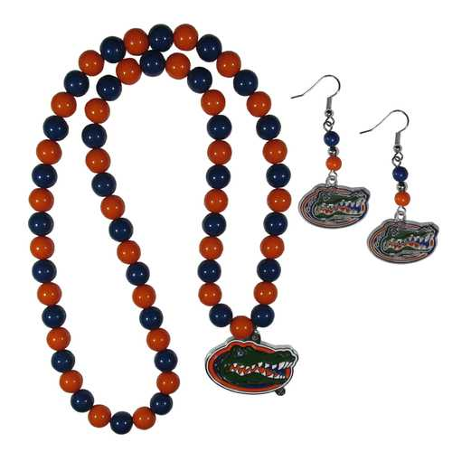 Florida Gators Fan Bead Earrings and Necklace Set
