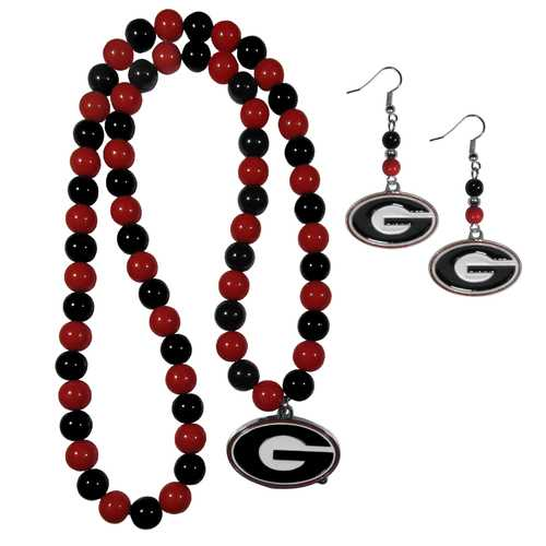 Georgia Bulldogs Fan Bead Earrings and Necklace Set