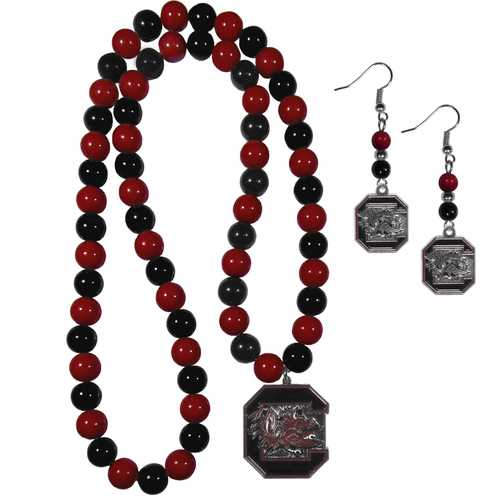 S. Carolina Gamecocks Fan Bead Earrings and Necklace Set