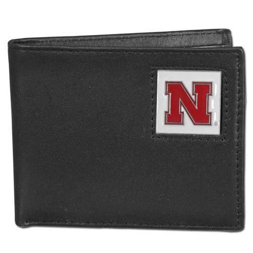 Nebraska Cornhuskers Leather Bi-fold Wallet Packaged in Gift Box