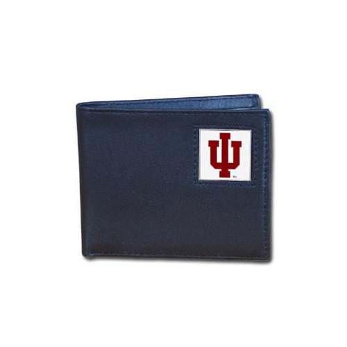 Indiana Hoosiers Leather Bi-fold Wallet Packaged in Gift Box