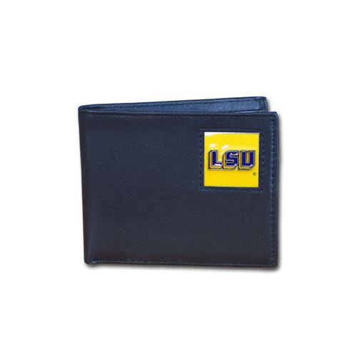 LSU Tigers Leather Bi-fold Wallet Packaged in Gift Box