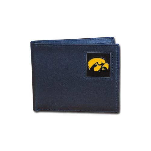 Iowa Hawkeyes Leather Bi-fold Wallet Packaged in Gift Box