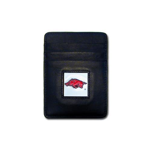 Arkansas Razorbacks Leather Money Clip/Cardholder Packaged in Gift Box