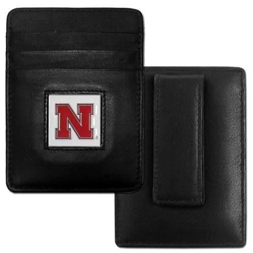 Nebraska Cornhuskers Leather Money Clip/Cardholder Packaged in Gift Box