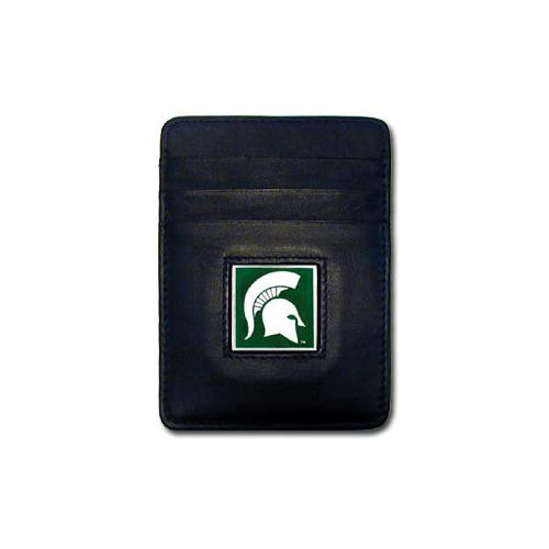 Michigan St. Spartans Leather Money Clip/Cardholder Packaged in Gift Box