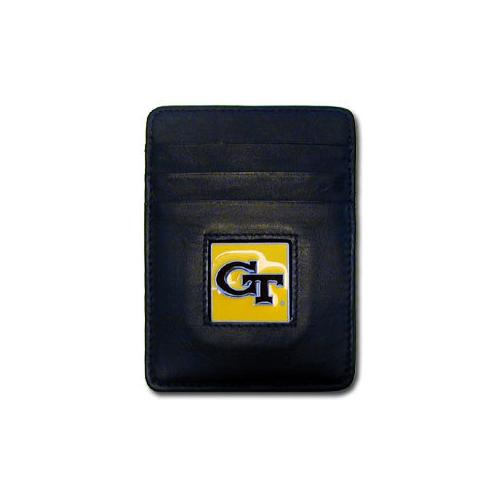 Georgia Tech Yellow Jackets Leather Money Clip/Cardholder Packaged in Gift Box