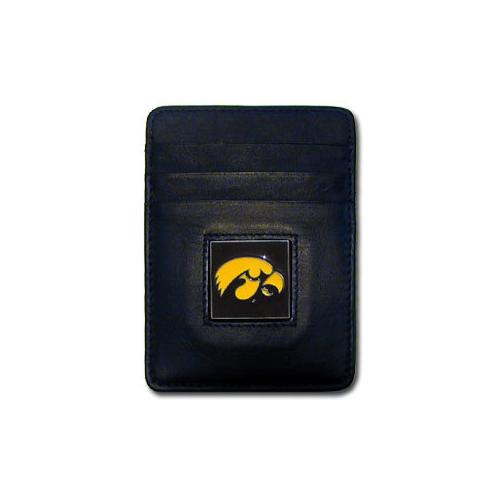 Iowa Hawkeyes Leather Money Clip/Cardholder Packaged in Gift Box