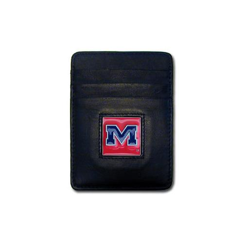 Mississippi Rebels Leather Money Clip/Cardholder Packaged in Gift Box