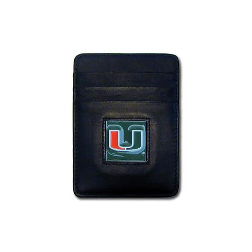 Miami Hurricanes Leather Money Clip/Cardholder Packaged in Gift Box