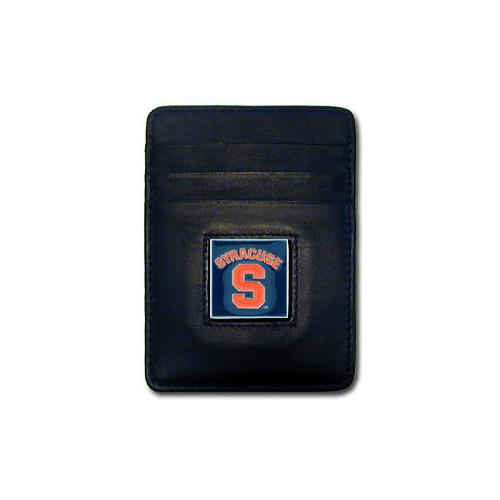 Syracuse Orange Leather Money Clip/Cardholder Packaged in Gift Box