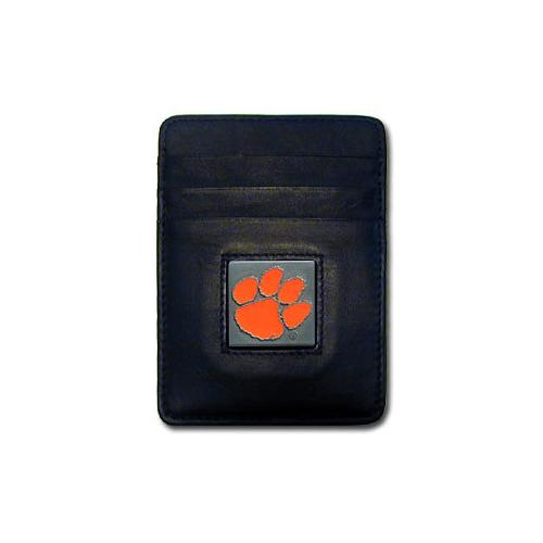 Clemson Tigers Leather Money Clip/Cardholder Packaged in Gift Box