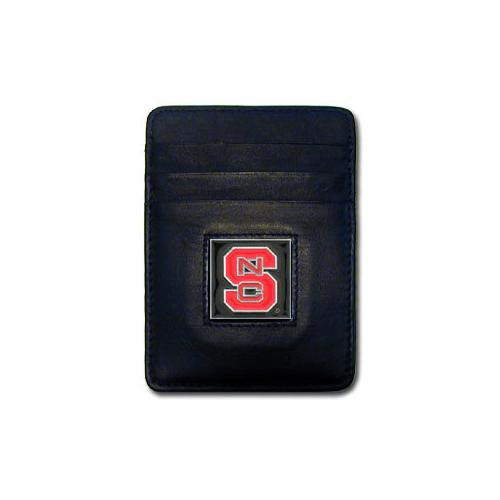 N. Carolina St. Wolfpack Leather Money Clip/Cardholder Packaged in Gift Box