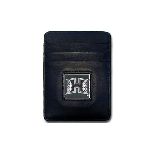 Hawaii Warriors Leather Money Clip/Cardholder Packaged in Gift Box
