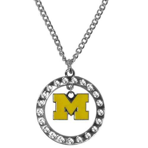Michigan Wolverines Rhinestone Hoop Necklaces