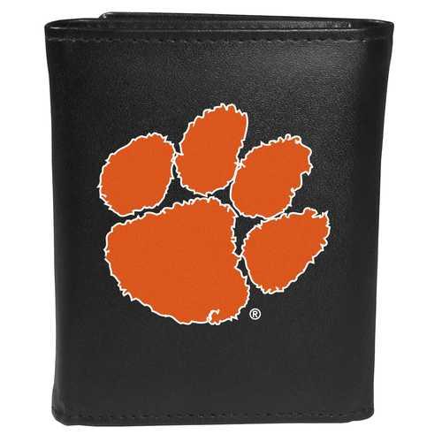 Clemson Tigers Leather Tri-fold Wallet, Large Logo