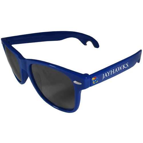 Kansas Jayhawks Beachfarer Bottle Opener Sunglasses, Blue