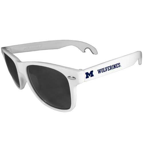 Michigan Wolverines Beachfarer Bottle Opener Sunglasses, White