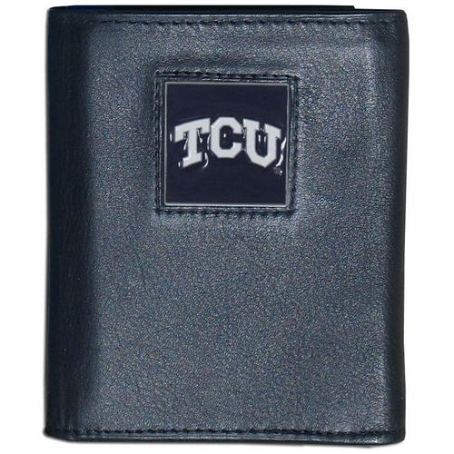 TCU Horned Frogs Deluxe Leather Tri-fold Wallet Packaged in Gift Box