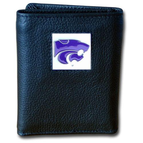 Kansas St. Wildcats Deluxe Leather Tri-fold Wallet Packaged in Gift Box