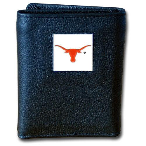 Texas Longhorns Deluxe Leather Tri-fold Wallet Packaged in Gift Box
