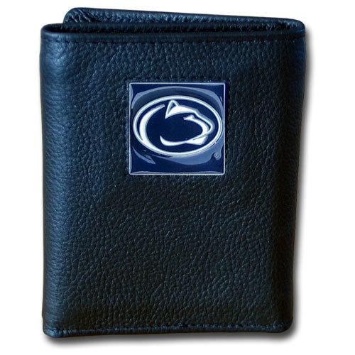 Penn St. Nittany Lions Deluxe Leather Tri-fold Wallet Packaged in Gift Box