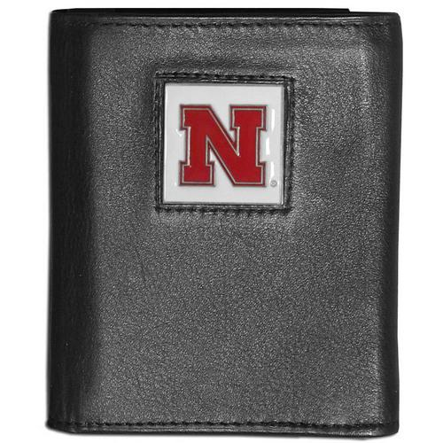 Nebraska Cornhuskers Deluxe Leather Tri-fold Wallet Packaged in Gift Box