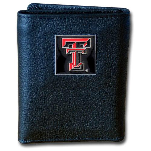 Texas Tech Raiders Deluxe Leather Tri-fold Wallet Packaged in Gift Box