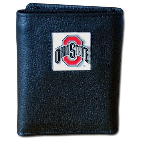 Ohio St. Buckeyes Deluxe Leather Tri-fold Wallet Packaged in Gift Box