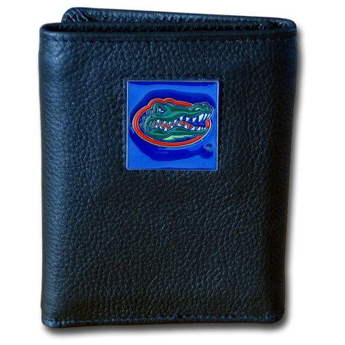 Florida Gators Deluxe Leather Tri-fold Wallet Packaged in Gift Box