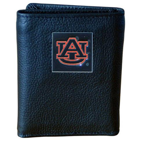 Auburn Tigers Deluxe Leather Tri-fold Wallet Packaged in Gift Box