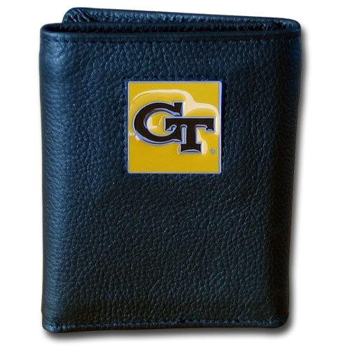 Georgia Tech Yellow Jackets Deluxe Leather Tri-fold Wallet Packaged in Gift Box