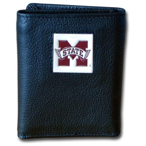 Mississippi St. Bulldogs Deluxe Leather Tri-fold Wallet Packaged in Gift Box