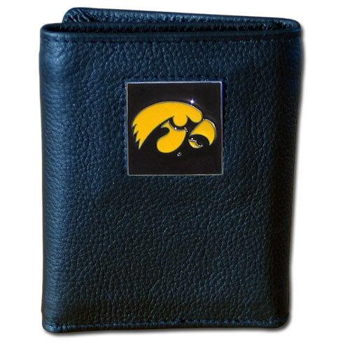 Iowa Hawkeyes Deluxe Leather Tri-fold Wallet Packaged in Gift Box