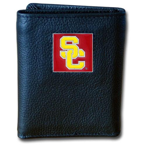 USC Trojans Deluxe Leather Tri-fold Wallet Packaged in Gift Box