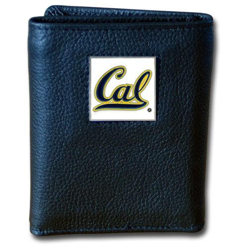Cal Berkeley Bears Deluxe Leather Tri-fold Wallet Packaged in Gift Box