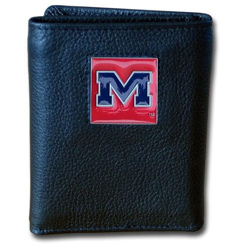 Mississippi Rebels Deluxe Leather Tri-fold Wallet Packaged in Gift Box