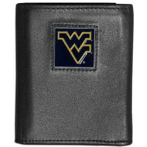 W. Virginia Mountaineers Deluxe Leather Tri-fold Wallet Packaged in Gift Box