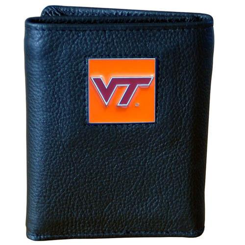 Virginia Tech Hokies Deluxe Leather Tri-fold Wallet Packaged in Gift Box